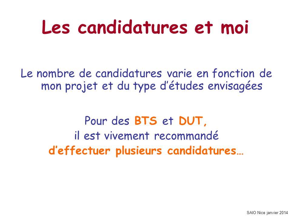 SAIO Nice janvier 2014 Les candidatures et moi Le nombre de candidatures varie en fonction de mon projet et du type détudes envisagées Pour des BTS et DUT, il est vivement recommandé deffectuer plusieurs candidatures…