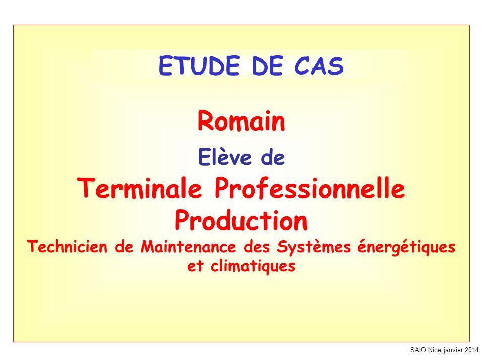 SAIO Nice janvier 2014 Romain Elève de Terminale Professionnelle Production Technicien de Maintenance des Systèmes énergétiques et climatiques ETUDE DE CAS
