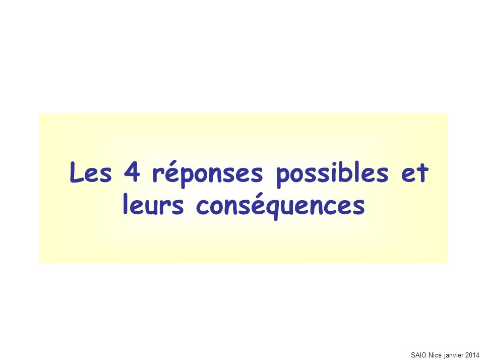SAIO Nice janvier 2014 Les 4 réponses possibles et leurs conséquences