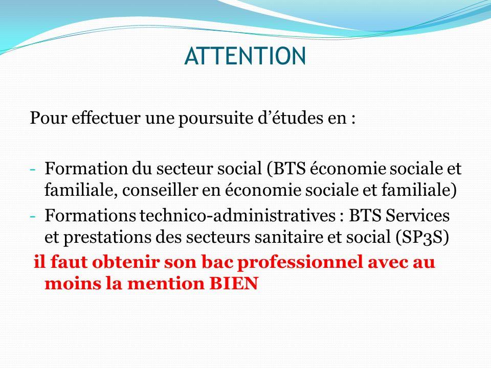 ATTENTION Pour effectuer une poursuite détudes en : - Formation du secteur social (BTS économie sociale et familiale, conseiller en économie sociale e