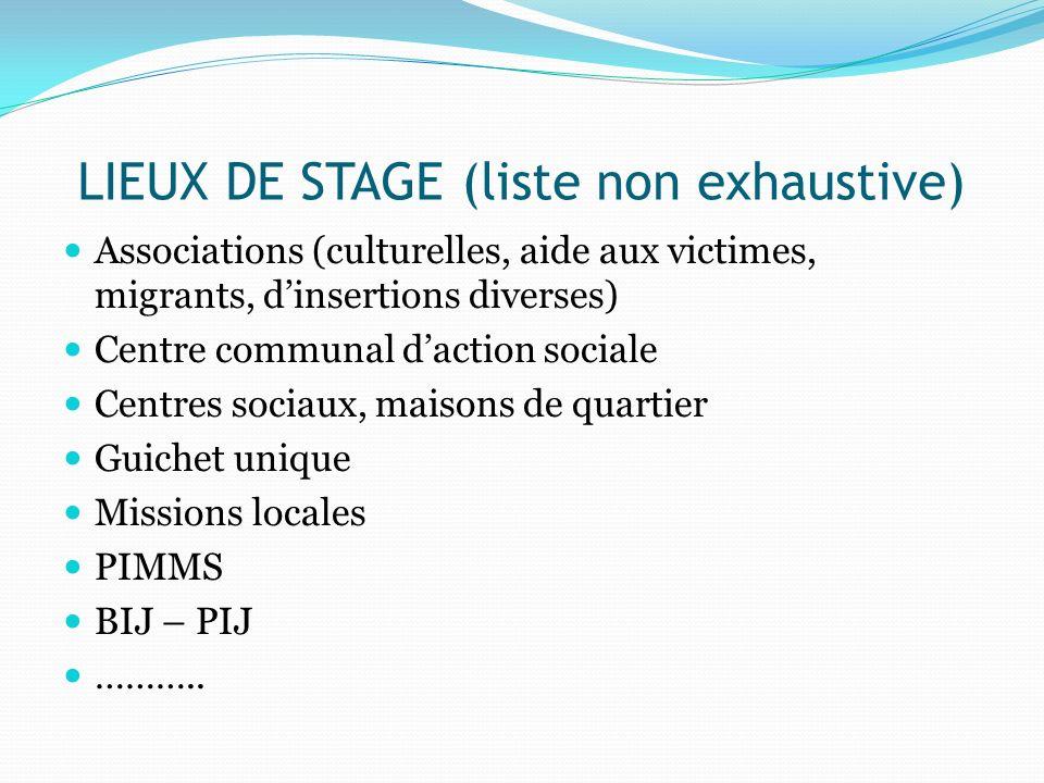 LIEUX DE STAGE (liste non exhaustive) Associations (culturelles, aide aux victimes, migrants, dinsertions diverses) Centre communal daction sociale Ce