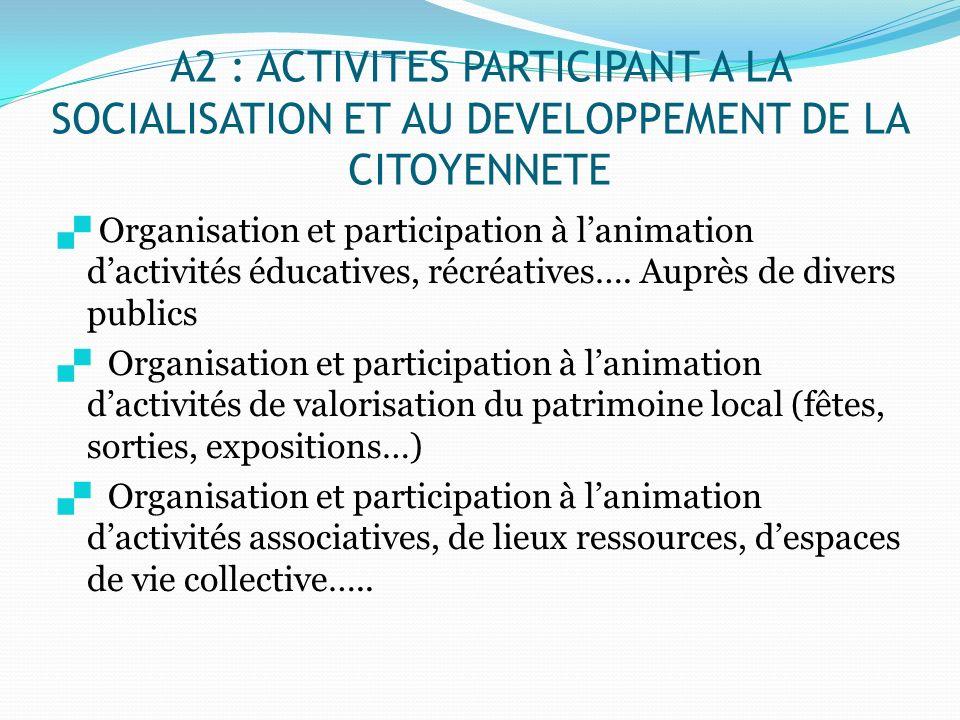 A2 : ACTIVITES PARTICIPANT A LA SOCIALISATION ET AU DEVELOPPEMENT DE LA CITOYENNETE Organisation et participation à lanimation dactivités éducatives,
