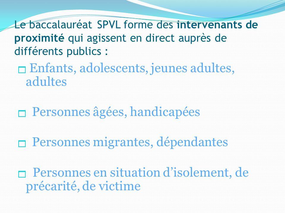 Le baccalauréat SPVL forme des intervenants de proximité qui agissent en direct auprès de différents publics : Enfants, adolescents, jeunes adultes, a
