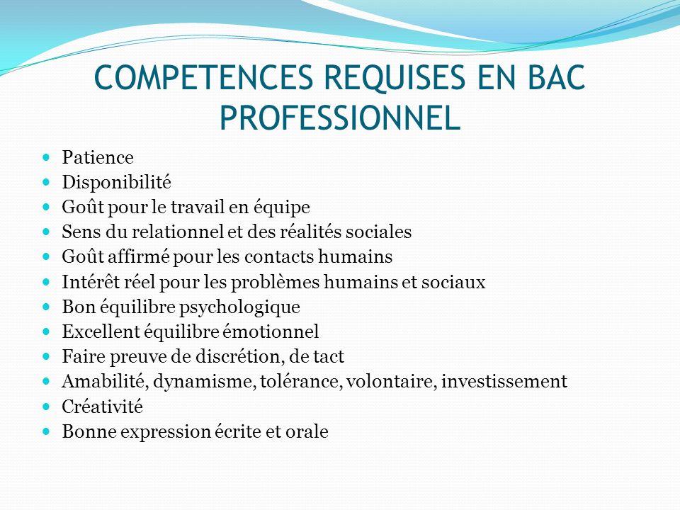 COMPETENCES REQUISES EN BAC PROFESSIONNEL Patience Disponibilité Goût pour le travail en équipe Sens du relationnel et des réalités sociales Goût affi
