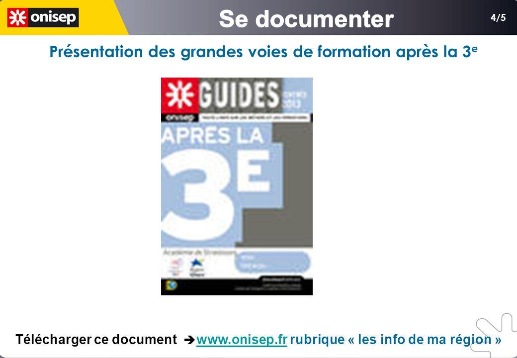 4/5 Présentation des grandes voies de formation après la 3 e Télécharger ce document www.onisep.fr rubrique « les info de ma région »www.onisep.fr
