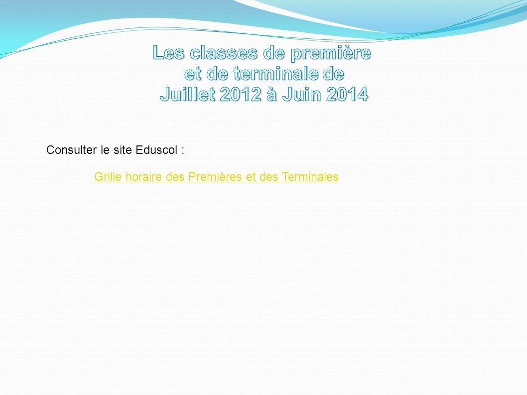 Consulter le site Eduscol : Grille horaire des Premières et des Terminales