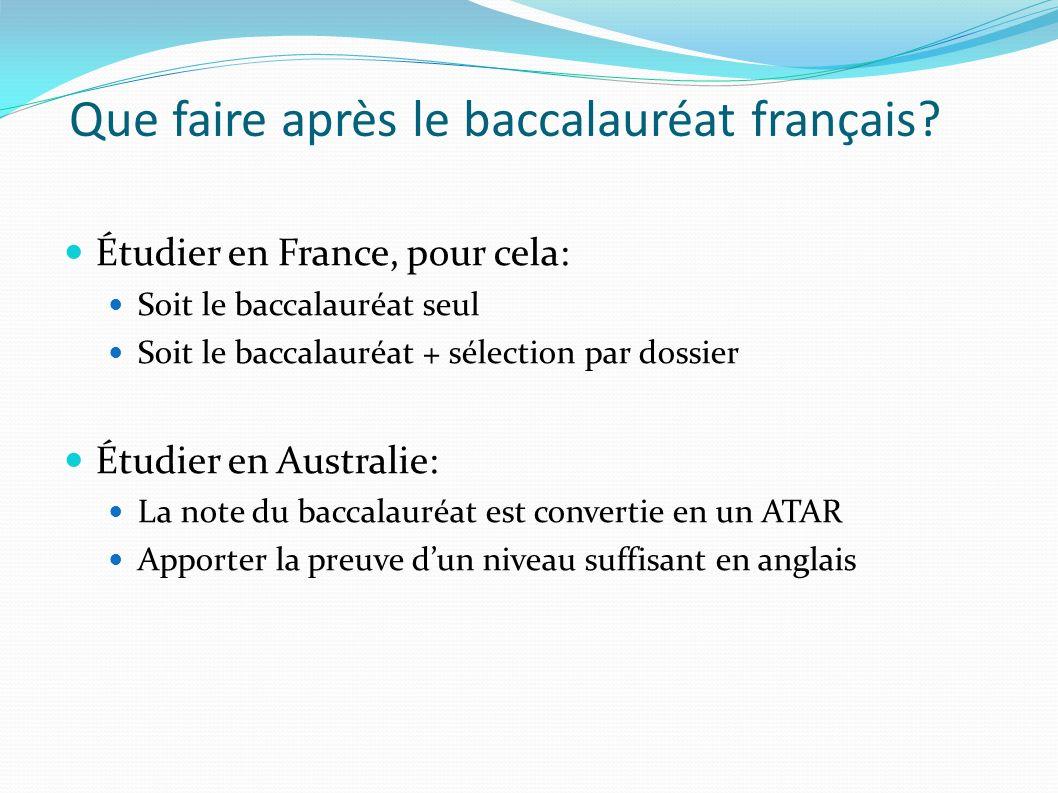 Que faire après le baccalauréat français? Étudier en France, pour cela: Soit le baccalauréat seul Soit le baccalauréat + sélection par dossier Étudier
