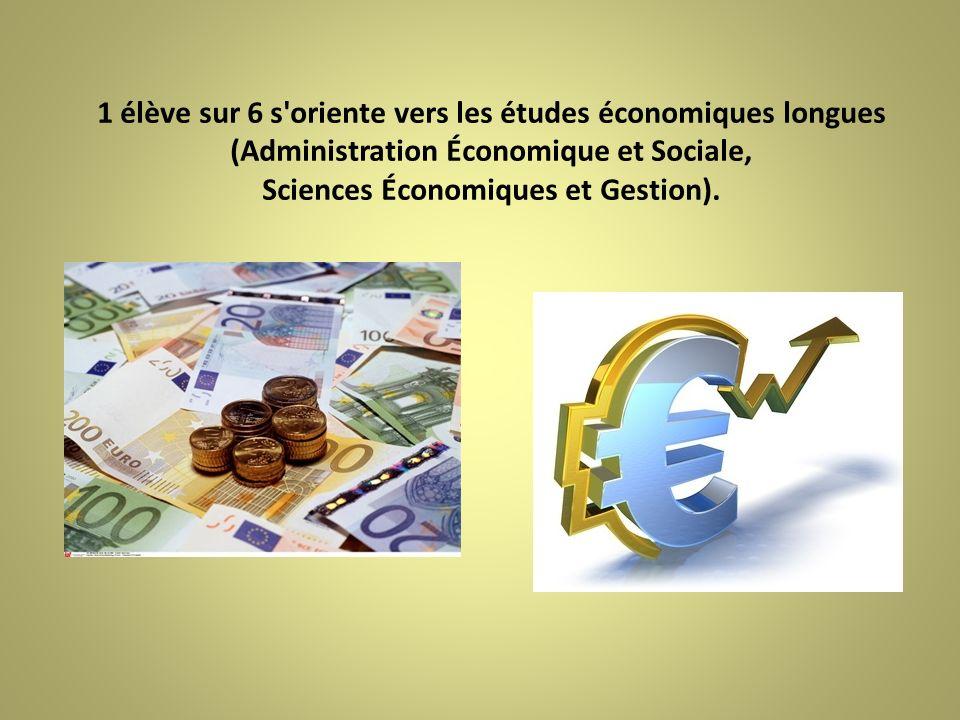 1 élève sur 6 s'oriente vers les études économiques longues (Administration Économique et Sociale, Sciences Économiques et Gestion).