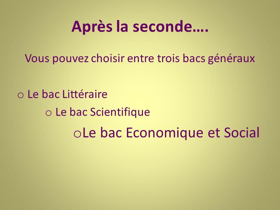 Après la seconde…. Vous pouvez choisir entre trois bacs généraux o Le bac Littéraire o Le bac Scientifique o Le bac Economique et Social
