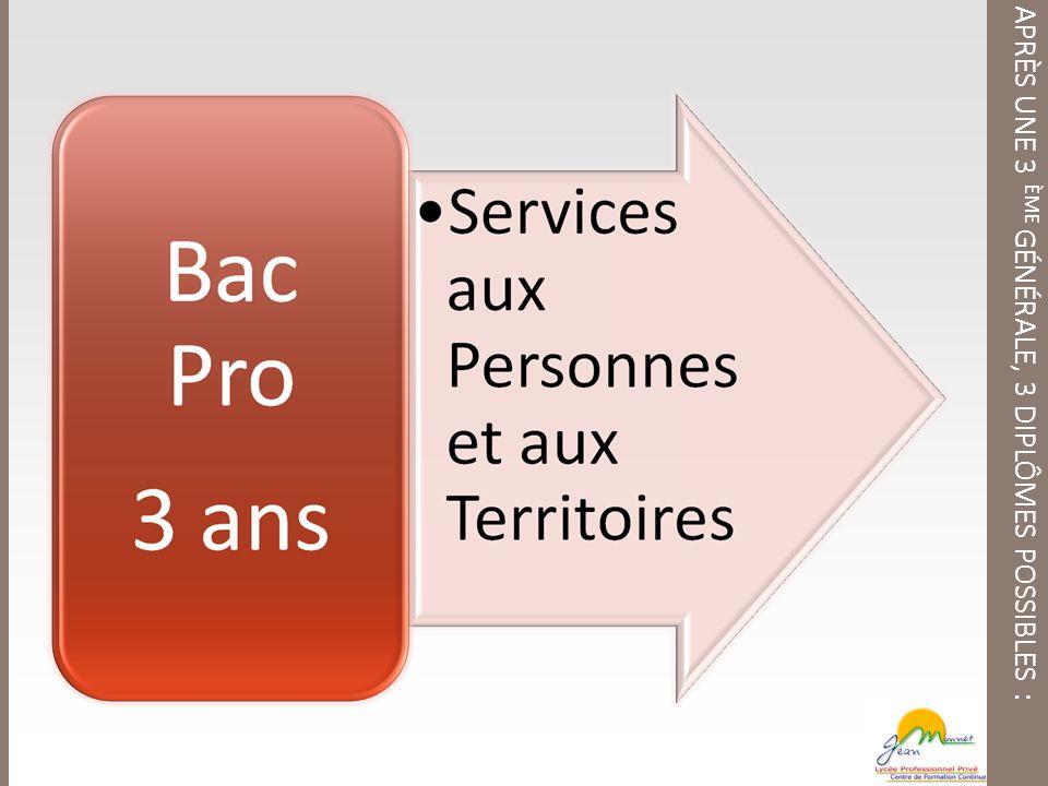 APRÈS UNE 3 ÈME GÉNÉRALE, 3 DIPLÔMES POSSIBLES :