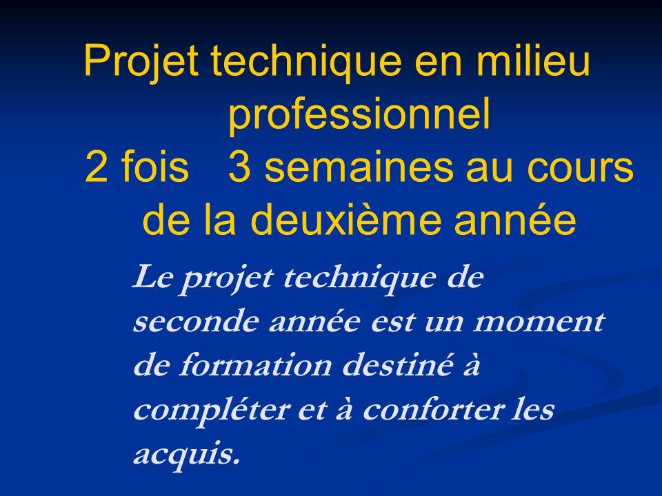 Le projet technique de seconde année est un moment de formation destiné à compléter et à conforter les acquis. Projet technique en milieu professionne