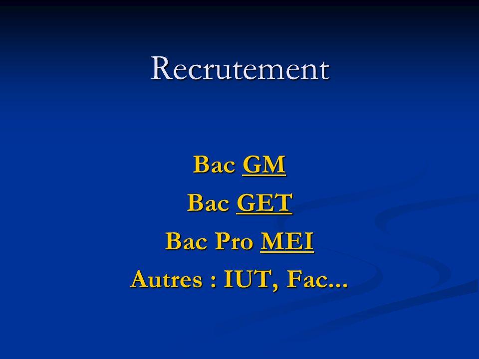 Recrutement Bac GM GM Bac GET GET Bac Pro MEI MEI Autres : IUT, Fac...