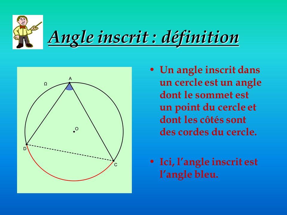 Angle inscrit : définition Un angle inscrit dans un cercle est un angle dont le sommet est un point du cercle et dont les côtés sont des cordes du cercle.