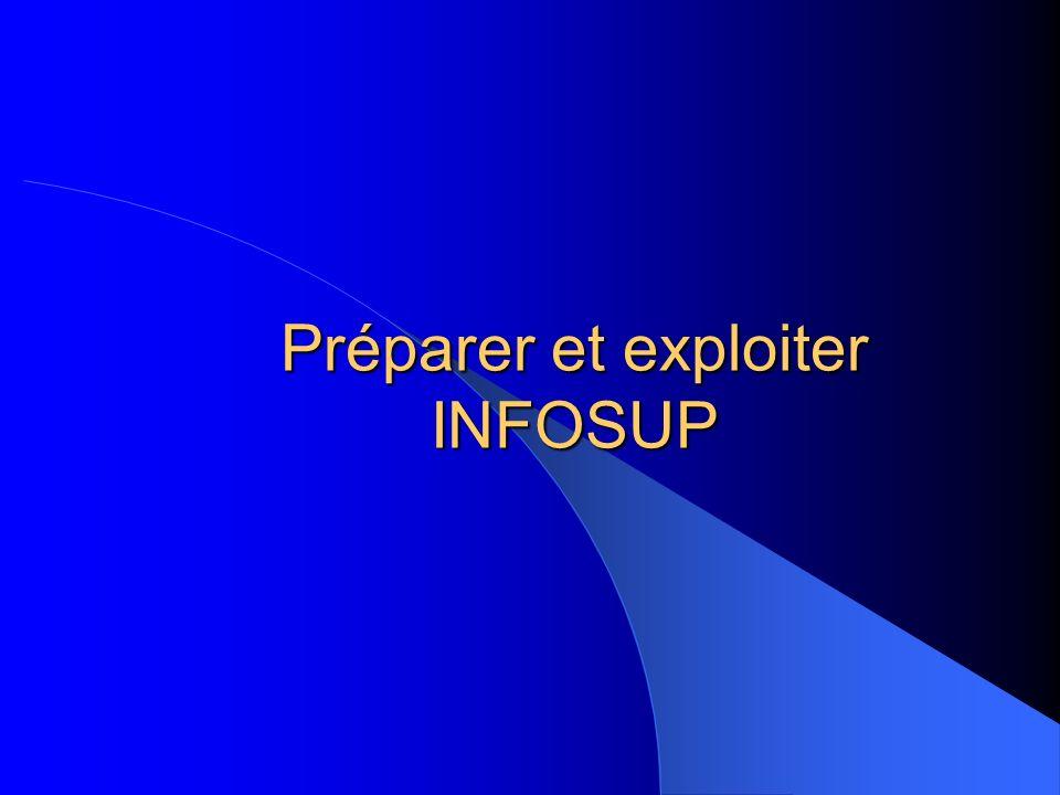 Préparer et exploiter INFOSUP