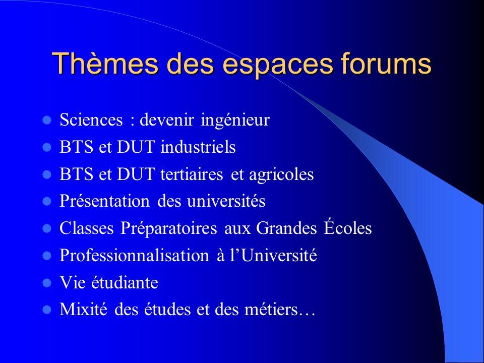 Thèmes des espaces forums Sciences : devenir ingénieur BTS et DUT industriels BTS et DUT tertiaires et agricoles Présentation des universités Classes