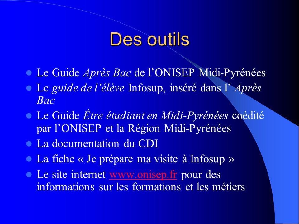 Des outils Le Guide Après Bac de lONISEP Midi-Pyrénées Le guide de lélève Infosup, inséré dans l Après Bac Le Guide Être étudiant en Midi-Pyrénées coé
