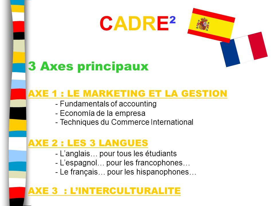 3 Axes principaux AXE 1 : LE MARKETING ET LA GESTION - Fundamentals of accounting - Economía de la empresa - Techniques du Commerce International AXE