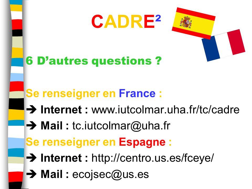 6 Dautres questions ? Se renseigner en France : Internet : www.iutcolmar.uha.fr/tc/cadre Mail : tc.iutcolmar@uha.fr Se renseigner en Espagne : Interne