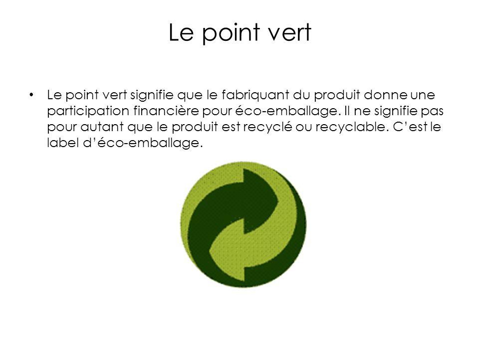 Le point vert Le point vert signifie que le fabriquant du produit donne une participation financière pour éco-emballage.
