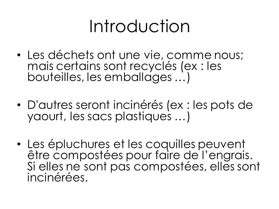 Introduction Les déchets ont une vie, comme nous; mais certains sont recyclés (ex : les bouteilles, les emballages …) D autres seront incinérés (ex : les pots de yaourt, les sacs plastiques …) Les épluchures et les coquilles peuvent être compostées pour faire de lengrais.