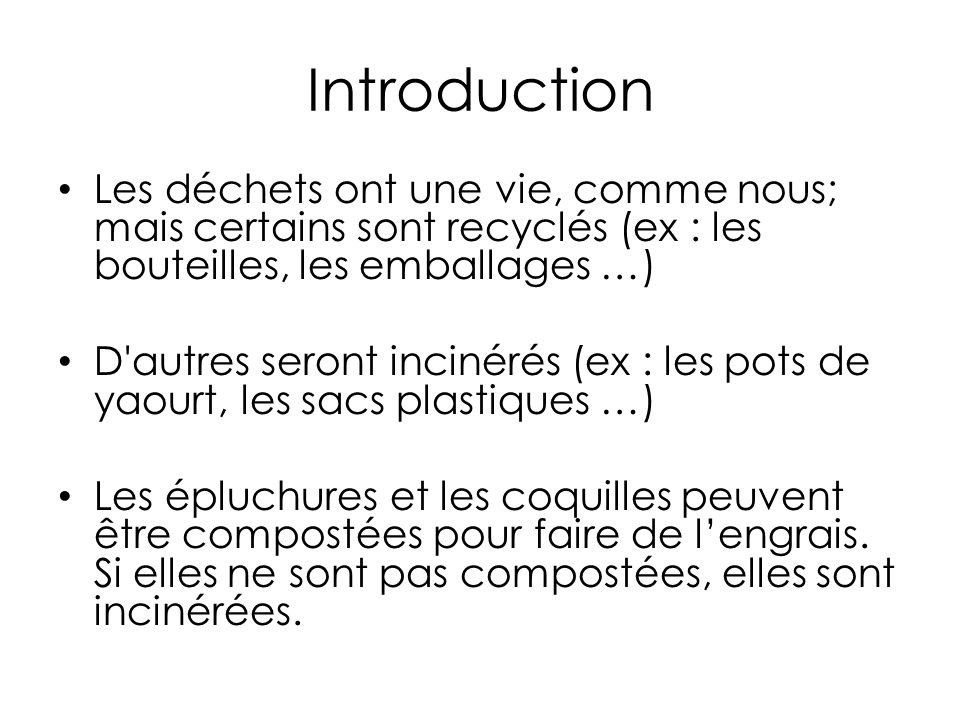 La chaîne de recyclage