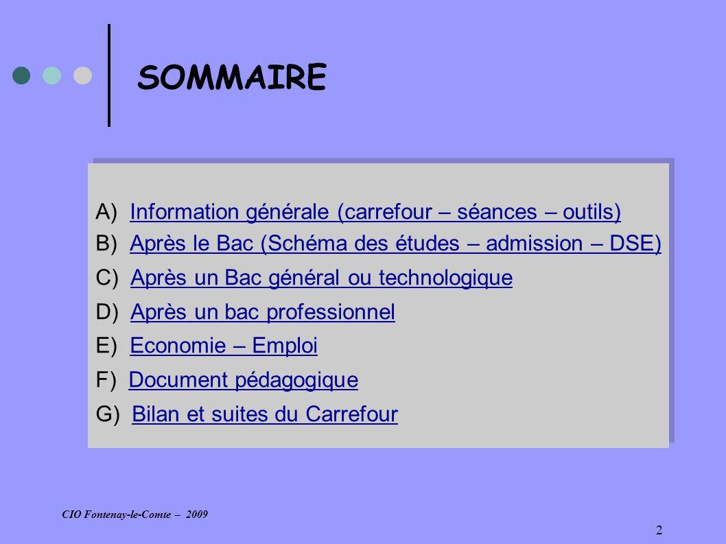 13 Outils documentaires Après le Bac, choisir dès le lycée : Dossier Onisep édition 2009 - p9 et suivantes – (ou Bacs et classes préparatoires/ONISEP)Bacs et classes préparatoires/ONISEP Après le bac général et technologique : Guide régional Pays de La Loire 2009 (ou Guide 2009 : Après le BAC/ONISEP )Guide 2009 : Après le BAC/ONISEP Collection diplômes : - les BTS (brochure ONISEP 2005) ou (sur le site ONISEP/ Picardie : BTS industriels ; BTS tertiaires)BTS industriels BTS tertiaires - les DUT (brochure Onisep 2006) Après le Bac, choisir dès le lycée : Dossier Onisep édition 2009 - p9 et suivantes – (ou Bacs et classes préparatoires/ONISEP)Bacs et classes préparatoires/ONISEP Après le bac général et technologique : Guide régional Pays de La Loire 2009 (ou Guide 2009 : Après le BAC/ONISEP )Guide 2009 : Après le BAC/ONISEP Collection diplômes : - les BTS (brochure ONISEP 2005) ou (sur le site ONISEP/ Picardie : BTS industriels ; BTS tertiaires)BTS industriels BTS tertiaires - les DUT (brochure Onisep 2006) CIO Fontenay-le-Comte – 2009