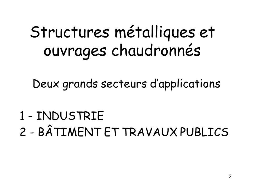 2 Structures métalliques et ouvrages chaudronnés Deux grands secteurs dapplications 1 - INDUSTRIE 2 - BÂTIMENT ET TRAVAUX PUBLICS