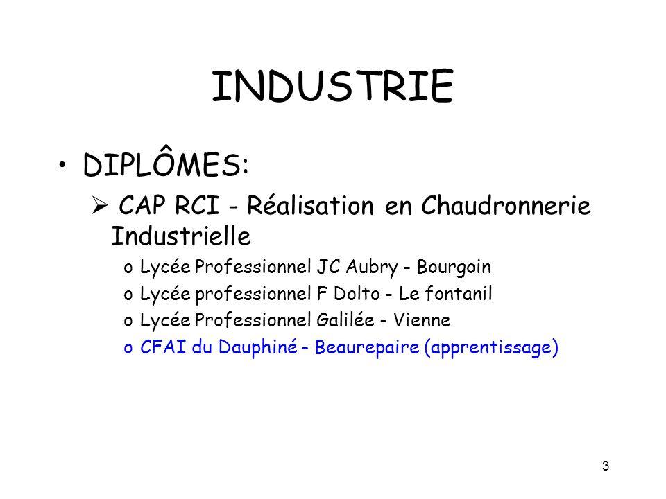 3 INDUSTRIE DIPLÔMES: CAP RCI - Réalisation en Chaudronnerie Industrielle oLycée Professionnel JC Aubry - Bourgoin oLycée professionnel F Dolto - Le f