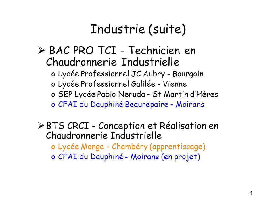 4 Industrie (suite) BAC PRO TCI - Technicien en Chaudronnerie Industrielle oLycée Professionnel JC Aubry - Bourgoin oLycée Professionnel Galilée - Vie