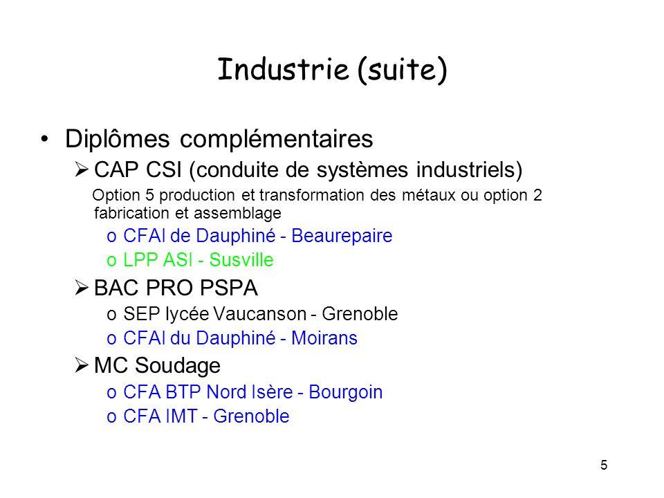 5 Industrie (suite) Diplômes complémentaires CAP CSI (conduite de systèmes industriels) Option 5 production et transformation des métaux ou option 2 f