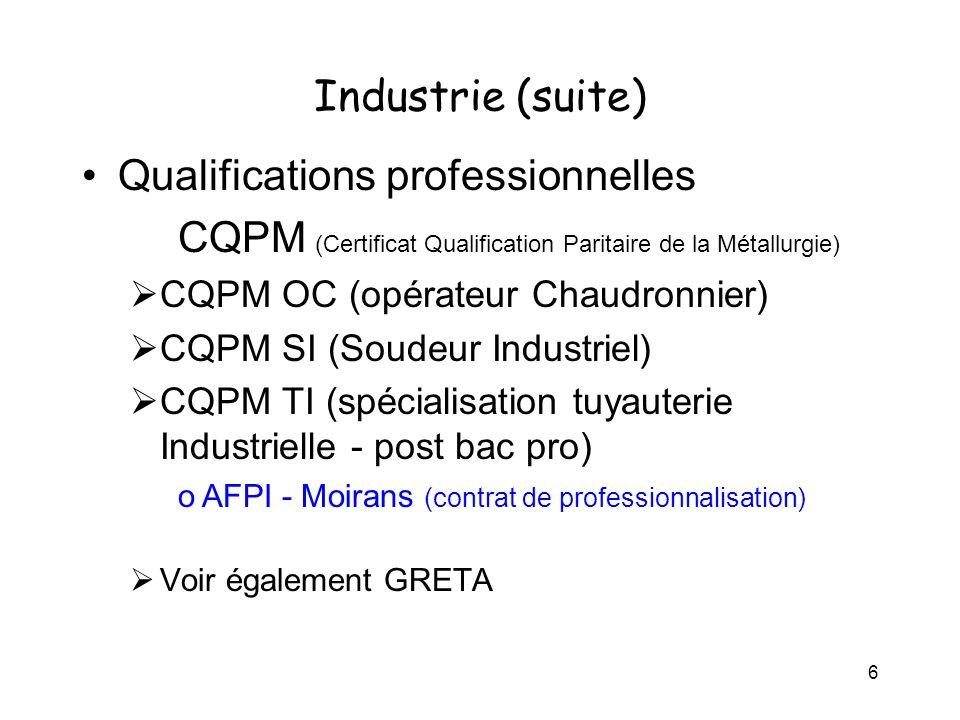 6 Industrie (suite) Qualifications professionnelles CQPM (Certificat Qualification Paritaire de la Métallurgie) CQPM OC (opérateur Chaudronnier) CQPM SI (Soudeur Industriel) CQPM TI (spécialisation tuyauterie Industrielle - post bac pro) oAFPI - Moirans (contrat de professionnalisation) Voir également GRETA