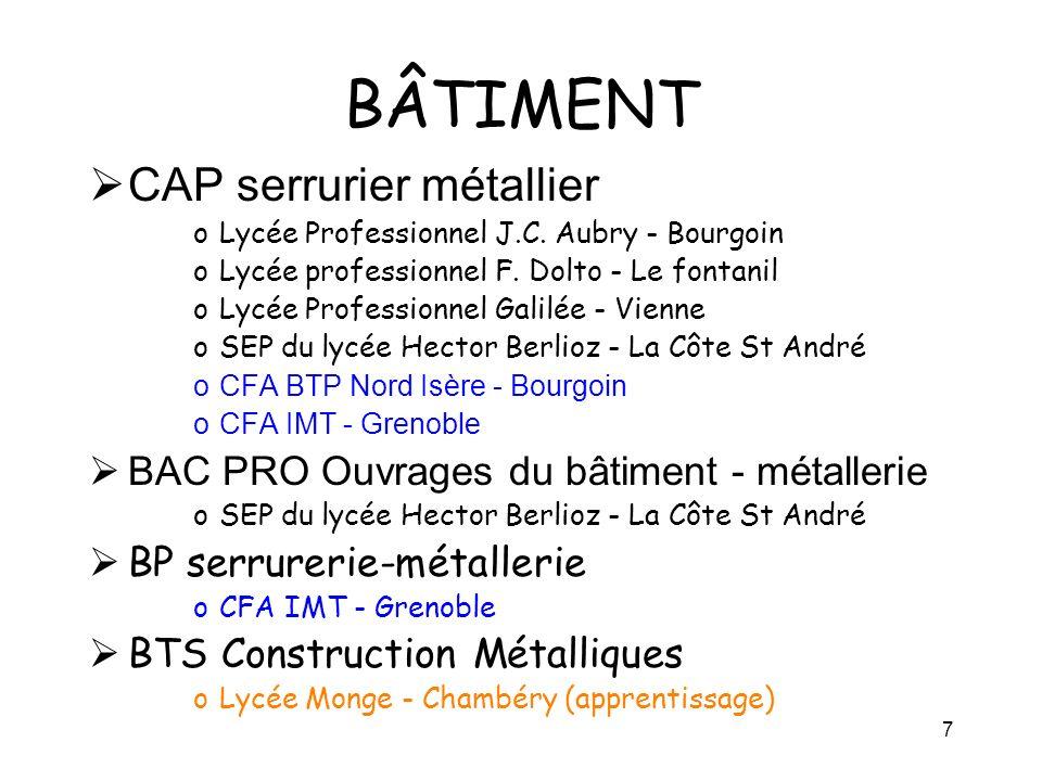 7 BÂTIMENT CAP serrurier métallier oLycée Professionnel J.C. Aubry - Bourgoin oLycée professionnel F. Dolto - Le fontanil oLycée Professionnel Galilée