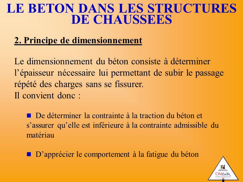 2. Principe de dimensionnement Le dimensionnement du béton consiste à déterminer lépaisseur nécessaire lui permettant de subir le passage répété des c