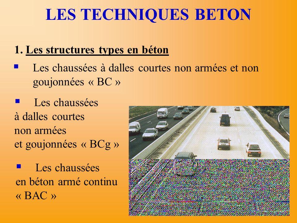 1. Les structures types en béton LES TECHNIQUES BETON Les chaussées à dalles courtes non armées et non goujonnées « BC » Les chaussées à dalles courte
