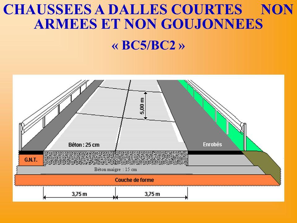 CHAUSSEES A DALLES COURTES NON ARMEES ET NON GOUJONNEES « BC5/BC2 » Béton maigre : 15 cm