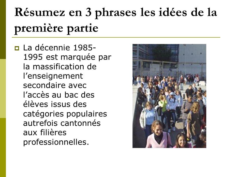 Résumez en 3 phrases les idées de la première partie La décennie 1985- 1995 est marquée par la massification de lenseignement secondaire avec laccès a