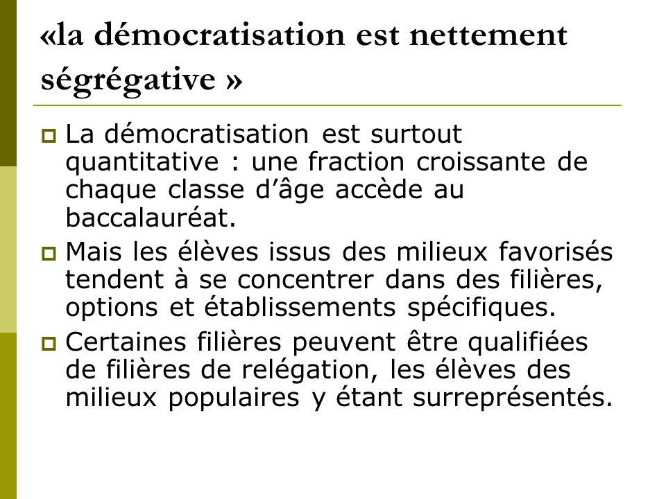 «la démocratisation est nettement ségrégative » La démocratisation est surtout quantitative : une fraction croissante de chaque classe dâge accède au