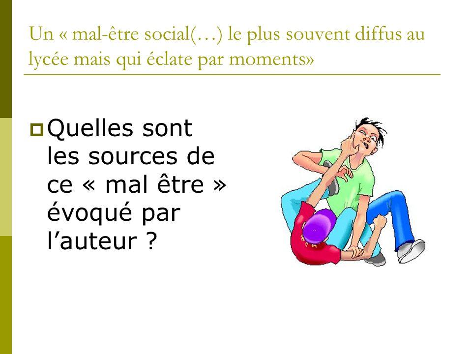 Un « mal-être social(…) le plus souvent diffus au lycée mais qui éclate par moments» Quelles sont les sources de ce « mal être » évoqué par lauteur ?