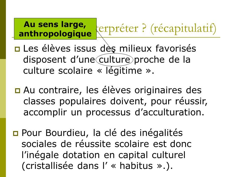 Comment les interpréter ? (récapitulatif) Les élèves issus des milieux favorisés disposent dune culture proche de la culture scolaire « légitime ». Au