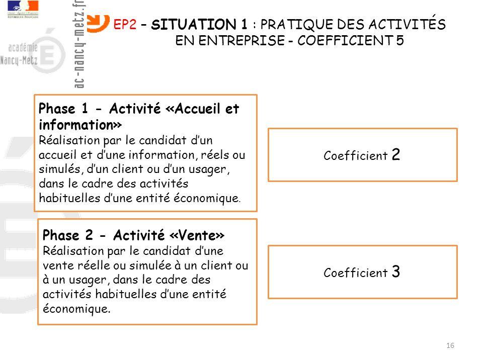 16 EP2 – SITUATION 1 : PRATIQUE DES ACTIVITÉS EN ENTREPRISE - COEFFICIENT 5 Phase 1 - Activité «Accueil et information» Réalisation par le candidat du