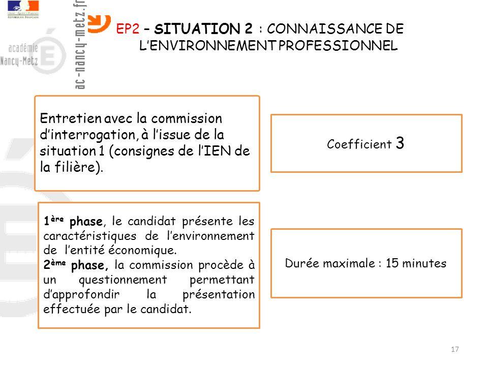 17 EP2 – SITUATION 2 : CONNAISSANCE DE LENVIRONNEMENT PROFESSIONNEL Entretien avec la commission dinterrogation, à lissue de la situation 1 (consignes