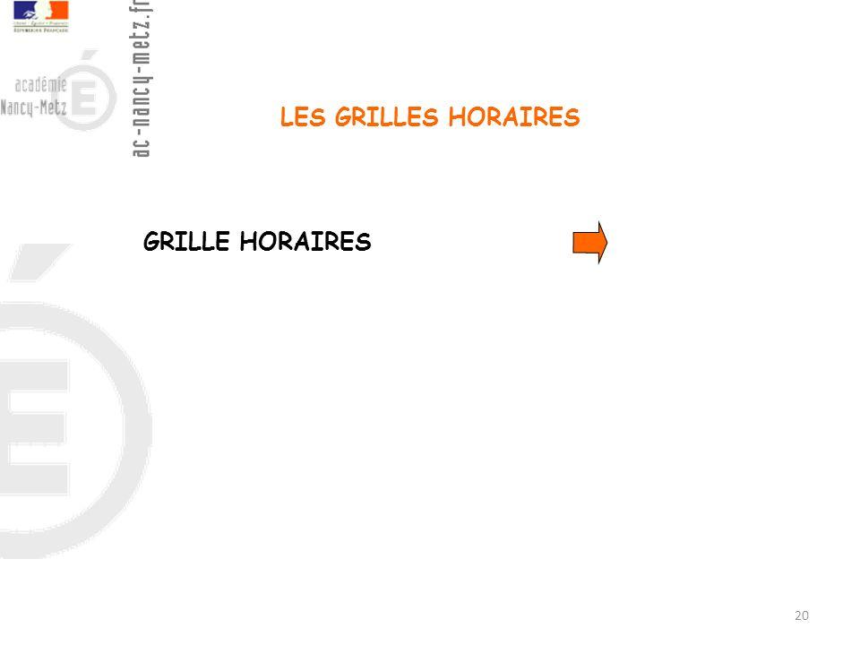 LES GRILLES HORAIRES GRILLE HORAIRES 20