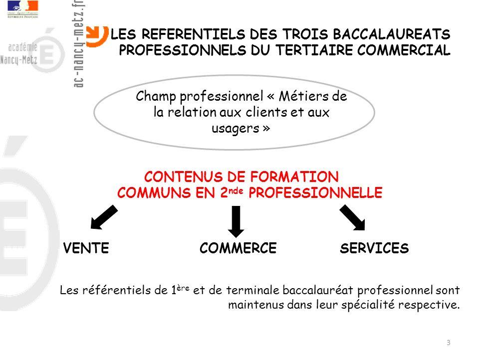 3 LES REFERENTIELS DES TROIS BACCALAUREATS PROFESSIONNELS DU TERTIAIRE COMMERCIAL Les référentiels de 1 ère et de terminale baccalauréat professionnel