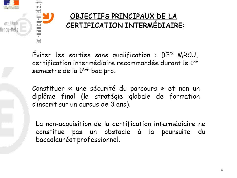 OBJECTIFS PRINCIPAUX DE LA CERTIFICATION INTERMÉDIAIRE: 4 Constituer « une sécurité du parcours » et non un diplôme final (la stratégie globale de for