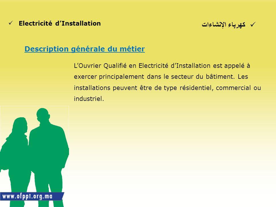 كهرباء الإنشاءات Electricité dInstallation Description générale du métier LOuvrier Qualifié en Electricité dInstallation est appelé à exercer principa