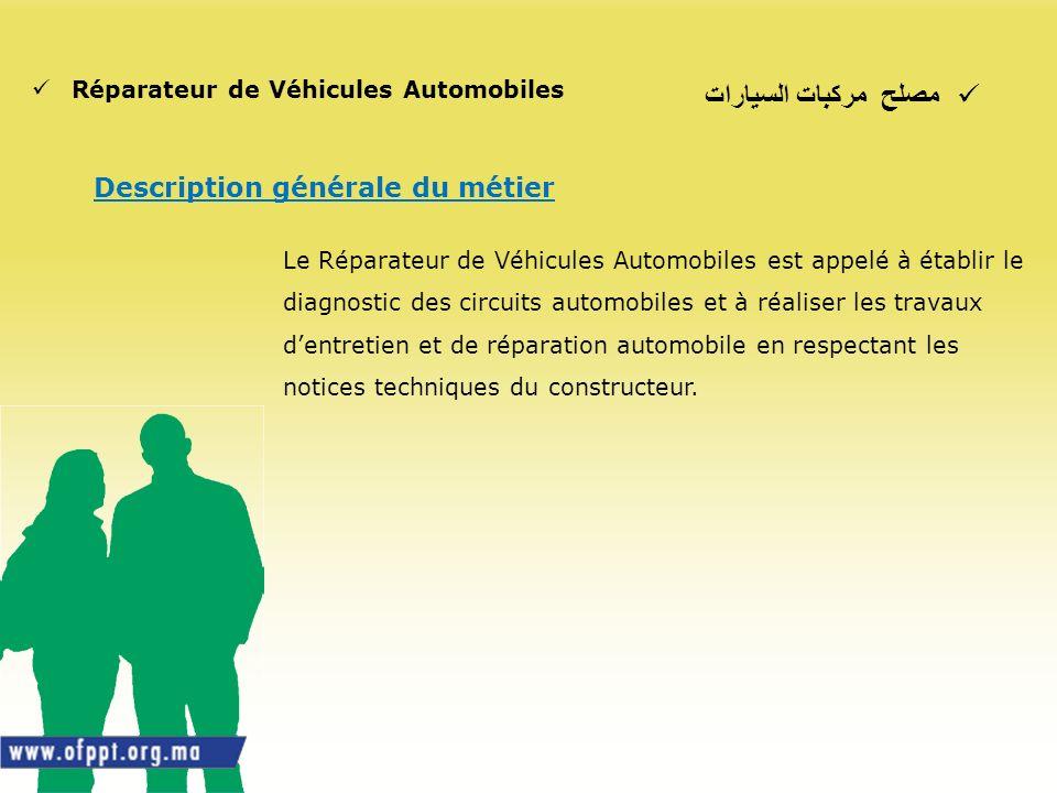 مصلح مركبات السيارات Réparateur de Véhicules Automobiles Description générale du métier Le Réparateur de Véhicules Automobiles est appelé à établir le