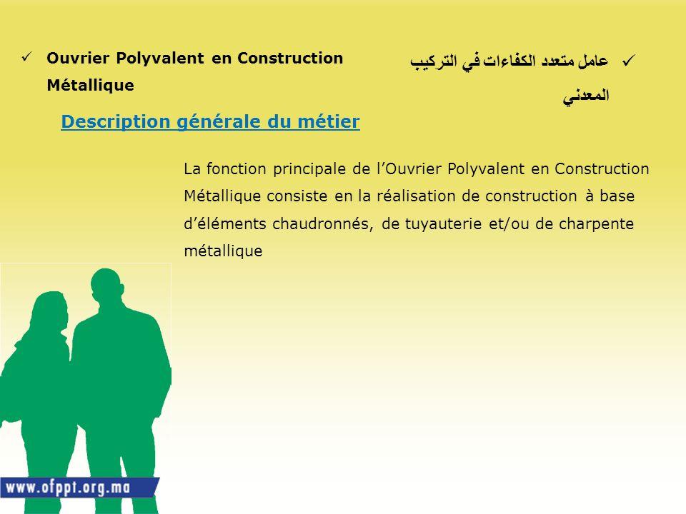 عامل متعدد الكفاءات في التركيب المعدني Ouvrier Polyvalent en Construction Métallique Description générale du métier La fonction principale de lOuvrier