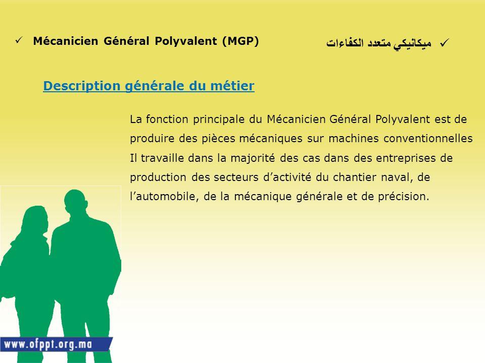 ميكانيكي متعدد الكفاءات Mécanicien Général Polyvalent (MGP) Description générale du métier La fonction principale du Mécanicien Général Polyvalent est