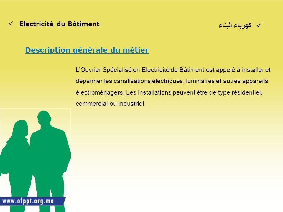 كهرباء البناء Electricité du Bâtiment Description générale du métier LOuvrier Spécialisé en Electricité de Bâtiment est appelé à installer et dépanner