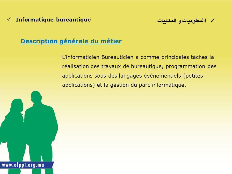االمعلوميات و المكتبيات Informatique bureautique Description générale du métier Linformaticien Bureauticien a comme principales tâches la réalisation